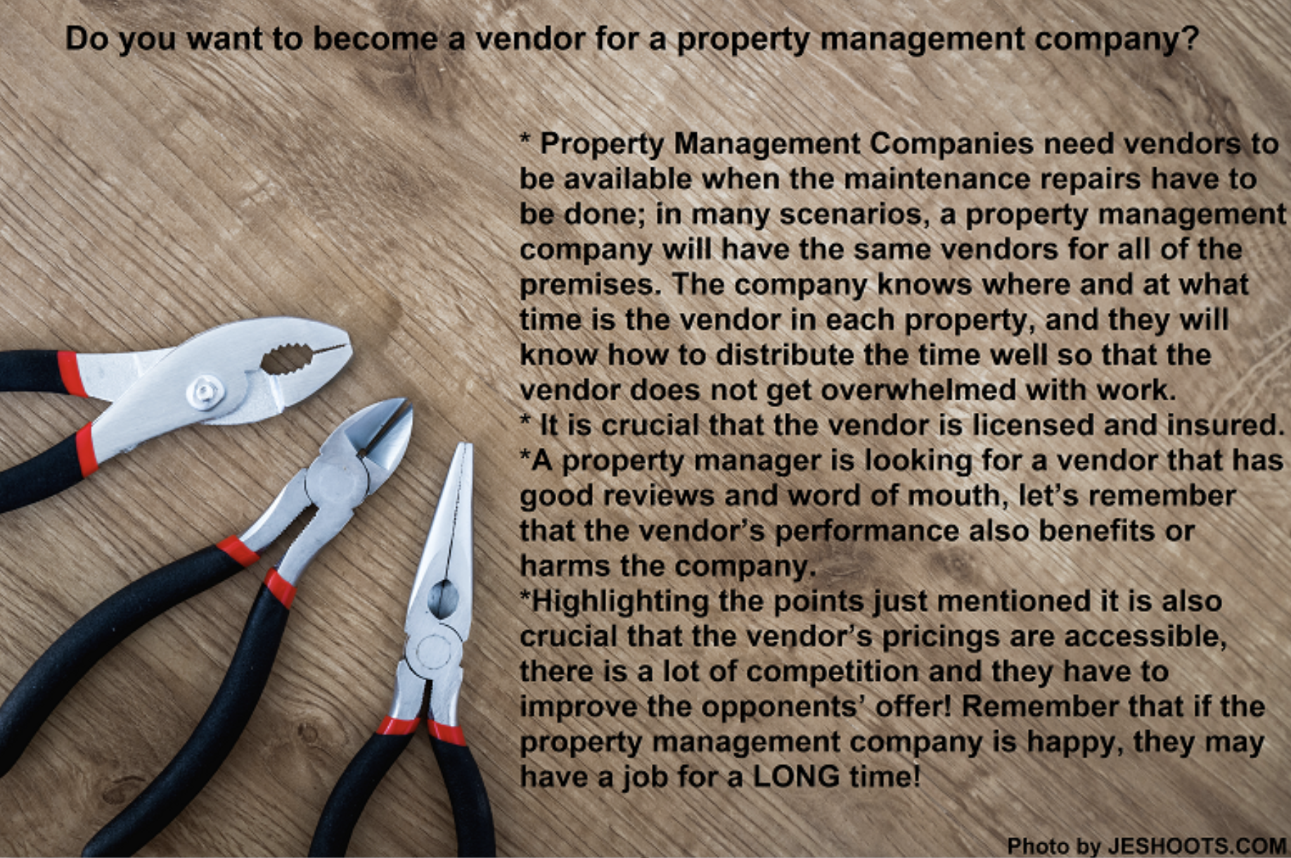Do you want to become a vendor for a property management company?